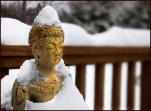 buddha on deck in snow