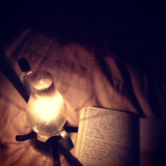 writing by lamplight